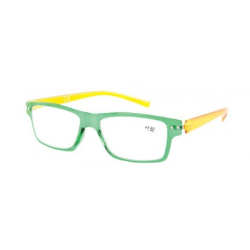 Reading glasses Flex, green eye wires, yellow temples; Diopters: +1, +1.50, +2, +2.50, +3 and +3.50