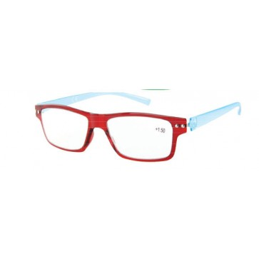 Reading glasses Flex, red eye wires, blue temples; Diopters: +1, +1.50, +2, +2.50, +3 and +3.50