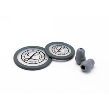 Littmann® Stethoscope Spare Parts Kit for Litmann Classic III, tunable diaphragms for pediatric and adult sides, set of eartips, gray