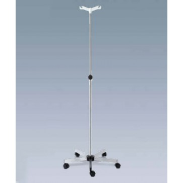 IV pole on casters, Stainless steel, 2 Plastic hooks