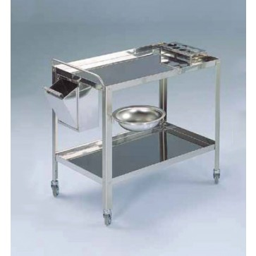 Dressing trolley, two shelves, 90x60x80 cm, stainless steel, bottle rack on top shelf, rectangular waste bin and bowl Ø 32 cm and bowl holder