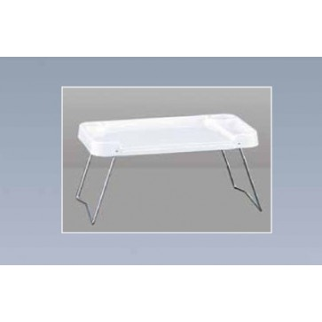 Plastic moulded white tray for bed, 58x39x5 cm, foldable metal legs