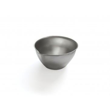 Round bowl, stainless steel, flat bottom pressed, with beak, ø 60 mm