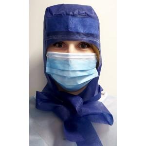 Kapa kirurška na vezanje sa silikonom i znojnikom | indigo plava | pakiranje 10 kom | hrvatski proizvod