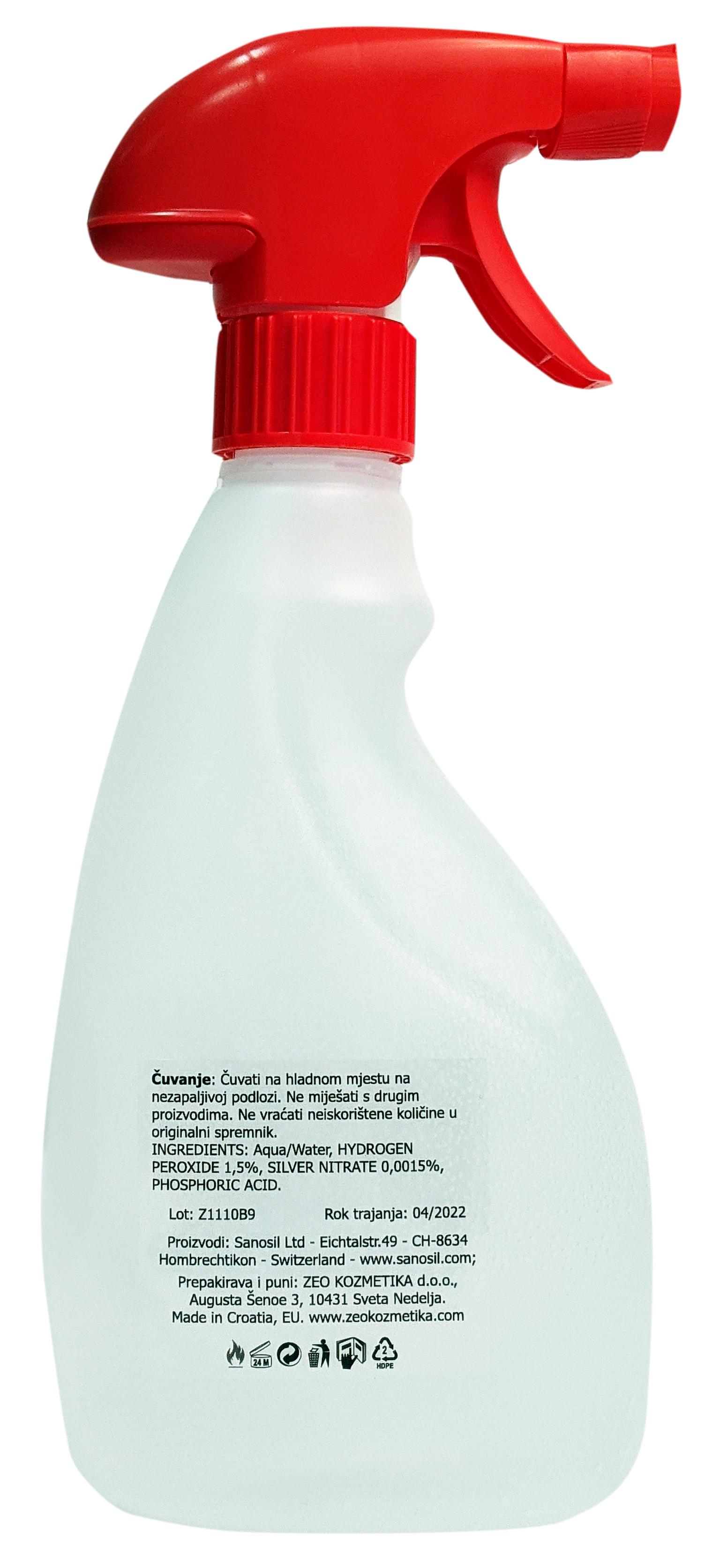 Sanosil S003 sredstvo za dezinfekciju površina i ruku - s raspršivačem, 0,5 litara